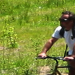 Bicyclist Rides on the South Tahoe Greenway