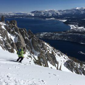 Skier above Lake Tahoe