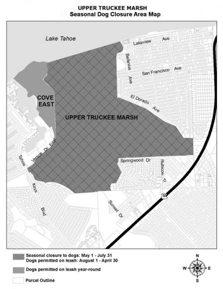 Seasonal dog closure area at the Upper Truckee Marsh