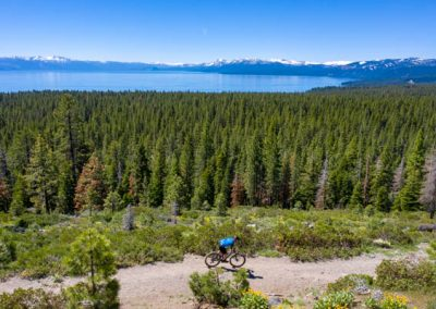 Levi Leipheimer mountain biking above Lake Tahoe